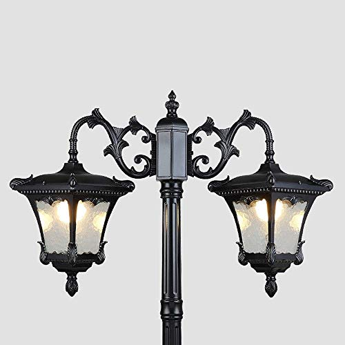 GOHHK Post Laterne Licht, 2,55M Vintage High Pole Straßenlaterne Down Light Gartentor Säulenlampe im Freien wasserdicht Patio Yard Deck Landschaft Dekor Leuchte Aluminium IP55 bewertet E27 * 2