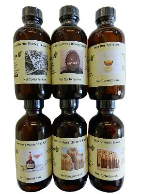 OliveNation Set of 6 Liquor Extracts 4 ounces each - (amaretto, creme de menthe, butter rum, Grand Marnier, Brandy, Bourbon whiskey) - Premium Quality Flavoring Extract for Baking