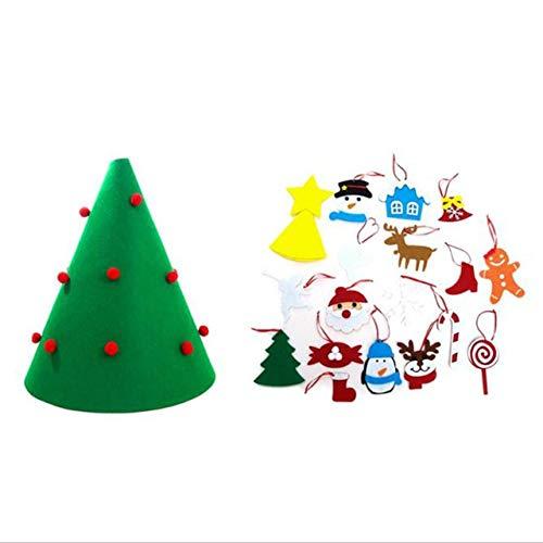 Easyeeasy Árbol de Navidad 3D DIY Año Nuevo Regalos para niños Juguete Decoración de árbol artificial con adornos colgantes desmontables Árbol de fieltro