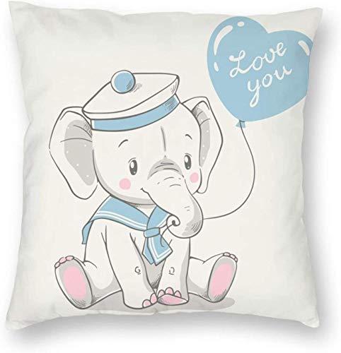 Lindo bebé Elefante con Disfraz de Marinero Sentado y sosteniendo un Globo en su baúl Cuadrado Almohada de poliéster Funda de cojín 18 x 18 Pulgadas Fundas de Almohada Cremallera Oculta para dormitor