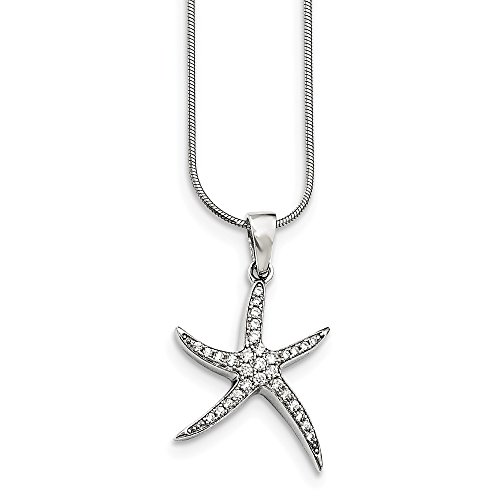 925 Sterling Silver Cubic Zirconia Cz Starfish Chain Necklace Pendant Charm Fish Sea Life Fine Jewelry For Women Gifts For Her