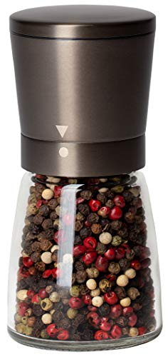 Black Pepper Grinder or Salt Shaker for Professional Chef - Best Spice Mill with Dark Bronze Plated Brushed Stainless Steel, Special Mark, Ceramic Blades, and Adjustable Coarseness