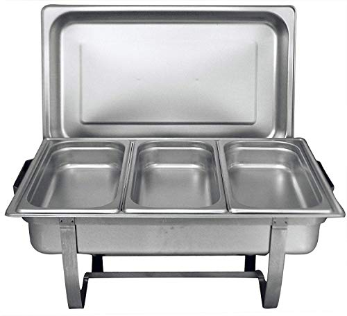 Tiger Chef 8 Quart Full Size Stainless Steel Chafer and 3 1/3rd Size Chafing Dishes Food Pans and Cool-Touch Plastic on Top