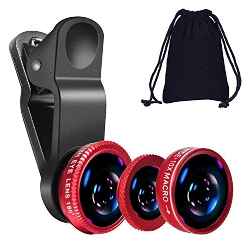 TEQNEQ® 3 in 1 Cell Phone Camera Lens Kit -Fish Eye Lens, 2 in 1 Macro Lens & Wide Angle Lens Compatible for Android/iOS Smartphone