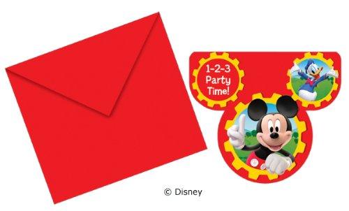 Procos 12-teiliges Einladungs-Set * Mickey Mouse * für Party und Geburtstag von Disney // Kindergeburtstag Kinder Feier Fete Set Micky Einladungskarten Einladung Invites