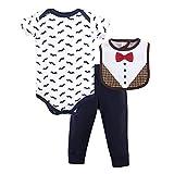 Hudson Baby Unisex Baby Cotton Bodysuit, Pant and Bib Set, Bow Tie, 0-3 Months