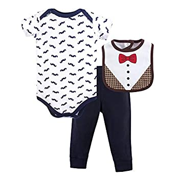 Hudson Baby Unisex Baby Cotton Bodysuit Pant and Bib Set Bow Tie 6-9 Months