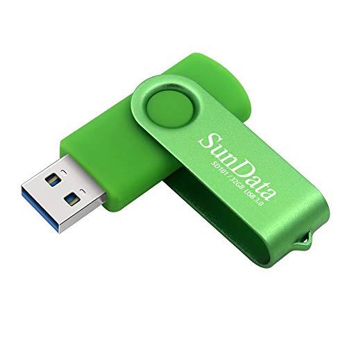 SunData Memorias USB 32GB Pen Drive USB 3.0 Flash Drive Diseño Giratorio Almacenamiento de Datos hasta 90MB/s, (Paquete Individual: Verde)