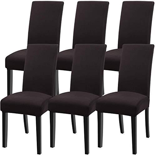 YISUN Universal Stretch Stuhlhussen 4er 6er Set Stuhlbezug für Stuhl Esszimmer (6er Set, Pures Kaffee)