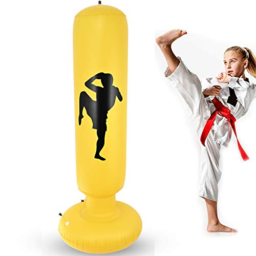 Nabance Saco de Boxeo Hinchable, 150cm Saco de Boxeo Inflable con Columna de Boxeo y Base Gruesa para niños, PVC Fitness Boxeo Inflable Saco de Arena Columna Tumbler Saco de Arena, Artes Marciales