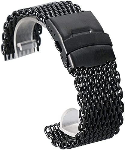 Reloj Correa, 18 mm de 20 mm 20 mm 22 mm 24 mm Banda de reloj de malla de acero inoxidable negra de 24 mm Pliegue sobre cierre con la pulsera de la correa de la muñeca de las mujeres correas de reloj
