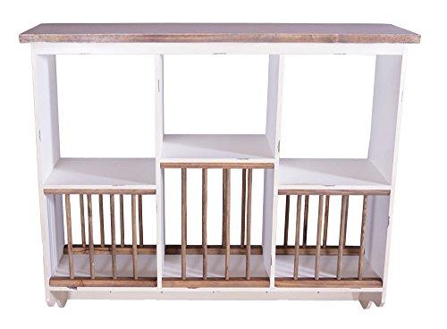 Landhausmöbel Geschirrregal Paris Holz Vintage Look Creme weiß Geschirr Regal - Landhaus