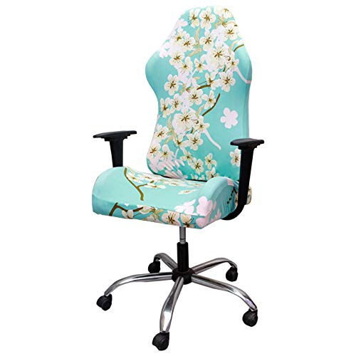 Crafttable Gaming Chair Covers Stretch Office Computer Game Chair Covers Printed Armchair Slipcovers for Office Reclining Racing Ruffled Gamer Chair Protector,04