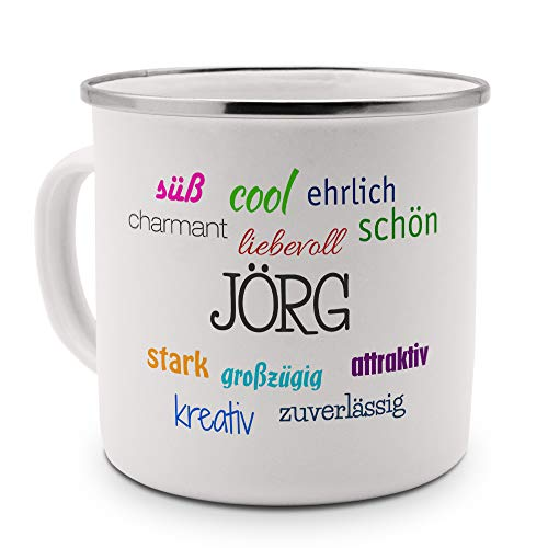 printplanet Emaille-Tasse mit Namen Jörg - Metallbecher mit Design Positive Eigenschaften - Nostalgie-Becher, Camping-Tasse, Blechtasse, Farbe Silber