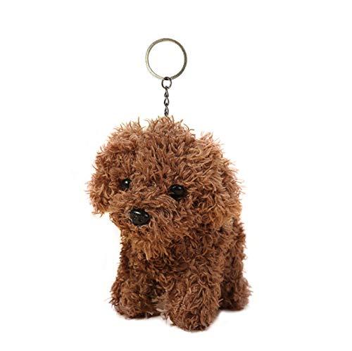Cute Stuffed Animal Dog Anime Plush Key Chain, Fashion Accessory Backpack Clips, Kindergarten Gift, Handbag Pendant, 5 inch (Brown)