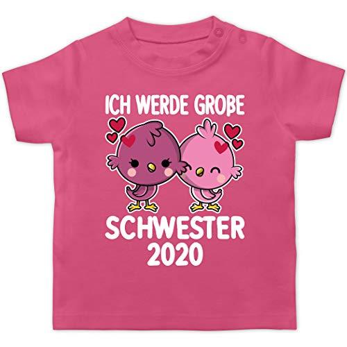 Geschwisterliebe Baby - Ich werde große Schwester 2020 mit Vögel - weiß - 12/18 Monate - Pink - Vogel - BZ02 - Baby T-Shirt Kurzarm