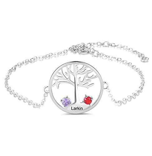 Personalized Mother's Family Tree Bracelet with Birthstone and Names