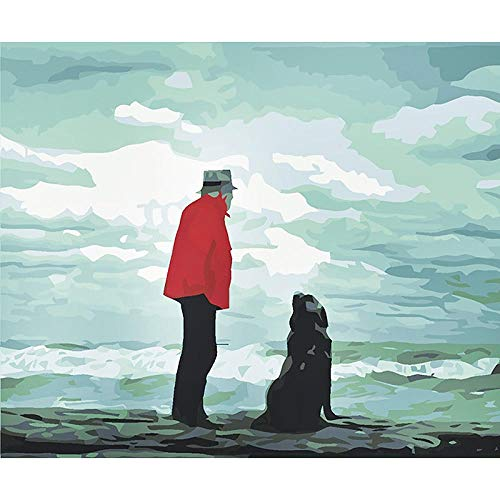 Ifoto Diy 5D Diamante Pintura Por Número Kit Rhinestone Bordado De Punto De Cruz Artes Manualidades Lienzo Pared Decoración(30X40Cm)-Perro Y Hombre Rojo