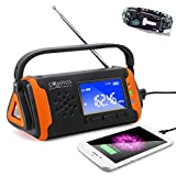 Solar + Hand Crank Digital AM FM NOAA Weather Emergency Radio + Music Player + 4000mah Power Bank Phone Charger & LED Flashlight SOS Bonus Survival Paracord Bracelet Flint Fire Starter Compass Whistle