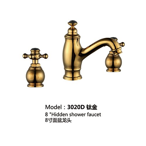 Maifeini Grifos fríos y calientes _ Grifo de lavabo de tres agujeros oro antiguo partido 8 pulgadas caliente y frío
