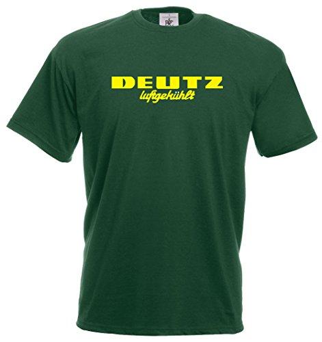 Bimaxx® Oldtimer T-Shirt Deutz Luftgekühlt | gelber Brustdruck | grün | Größe XL