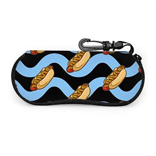AOOEDM Vintage Hot Dog con rayas azules Estuche portátil para anteojos Gafas resistentes a la abrasión Estuche protector Estuche suave para gafas de sol con mosquetón para la escuela, la oficina, los