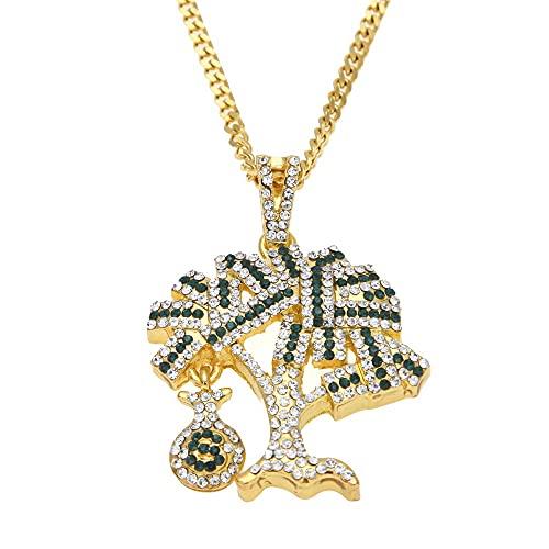 Collar de Hombres Hombre Cadena Colgante Micrófono Hip Hop Rhinestone Moda Trend Chico Collares Acero Inoxidable Oro/Plata (Color : Gold)