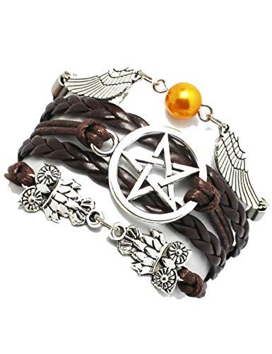 1 x Armband, Engelsflügel, Eulen, heidnisch und Wiccan, Stern-Armband, Supernatural, Freundschaft, Brautjungfer-Geschenk.