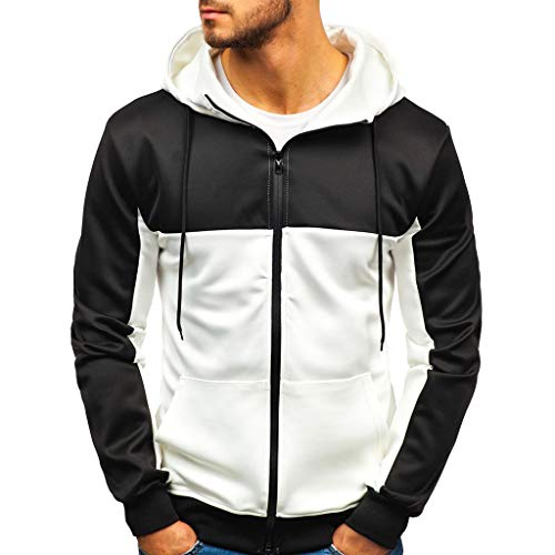 Great Deal! Men Hoodies Zip Up Patchwork Slim Fit Autumn Fashion Outdoor Casual Daily Drawstring Hoo...
