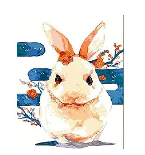wuzhaodi Schilderij, DIY Schilderen Door Getallen Kit Konijn Dieren Acryl Kleurplaten Door Getallen Voor Home Decoratie Wandverven X