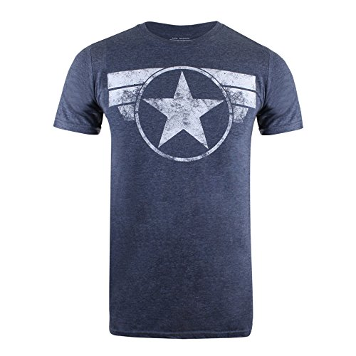 Marvel Herren Captain America Cap Logo T-Shirt, Heather Navy, XL