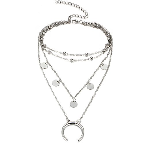 Elistelle Halskette Choker Mehrreihig Kette mit Anhänger Halsband Ketten Für Damen