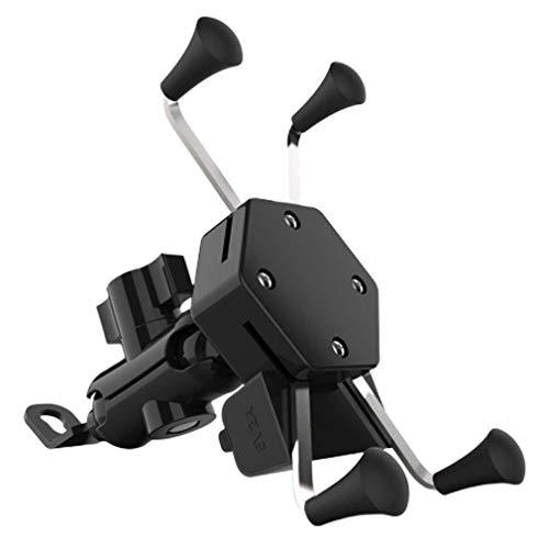 USNASLM Motocicleta Scooter X-Type Cargador Soporte de teléfono móvil Soporte USB Fuente de carga de coche Navegación con interruptor impermeable