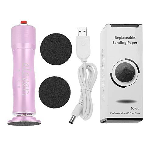 1 unidad de removedor de callos eléctrico, afeitadora de callos, lima de pie eléctrica con papel de lija, cable USB para eliminar callos, piel seca agrietada y muerta(Rosado)