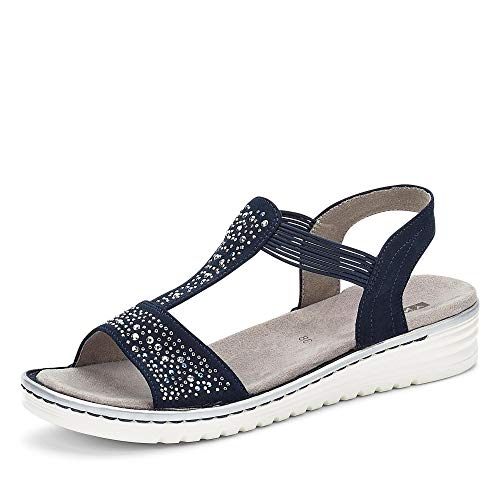 Jenny 22-57255 75 Havanna Damen Sandale aus Lederimitat mit Luftpolstersohle, Groesse 38, Marine