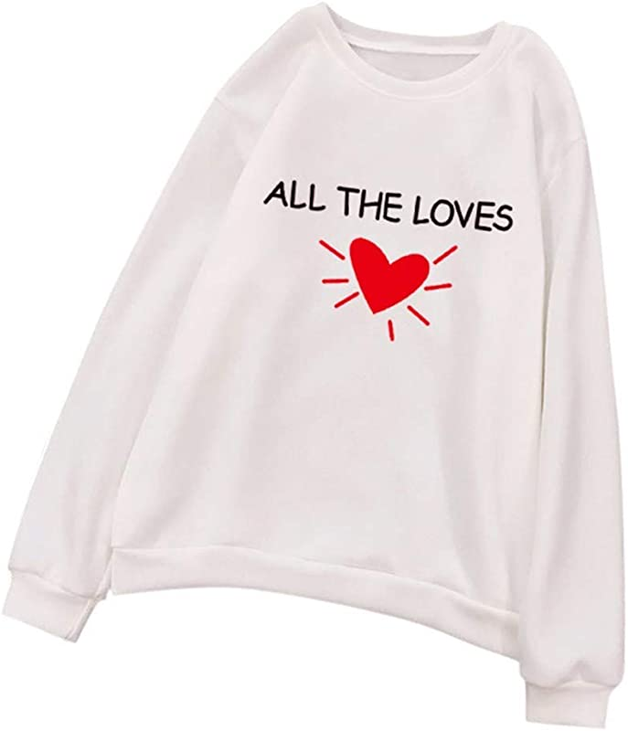 TANLANG Couple Wear Simple Sweatshirt Casual Basic Pullover Tops All The Loves Letter Printed Outwear Chunky Tunic Jacket