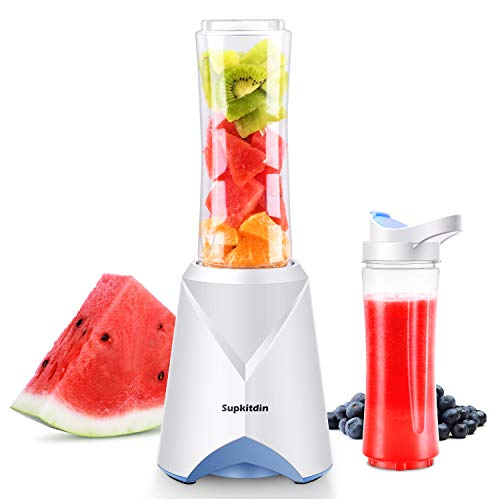 Supkitdin Personal Mini Blender for Shakes and Smoothies, 300 Watts Single Serve Blender for Fruits and Vegetables with 2 * 20oz BPA-Free Travel Sport Bottles