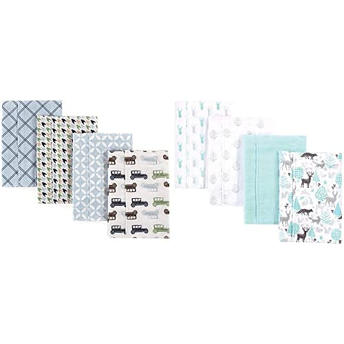 Hudson Baby Boy Cotton Flannel Discount mail order Burp Lino Blue 8-Pack Cars Cloth 25% OFF