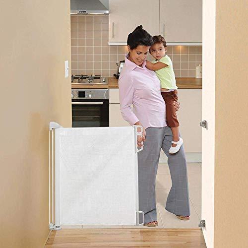DZDZXQG Versenkbares Baby-Sicherheitstor, einziehbares Treppen-Tor, Treppen-Tore für Babys, leichtes, langlebiges Netz, einfach zu Rollen und zu verriegeln für Treppen Flure Innen-Außen