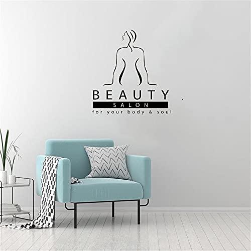 Kjlfow Mujer salón de Belleza Pegatinas de Pared salón de Belleza salón de Belleza Pegatinas de Pared Masaje para su Cuerpo y Alma 57x76cm
