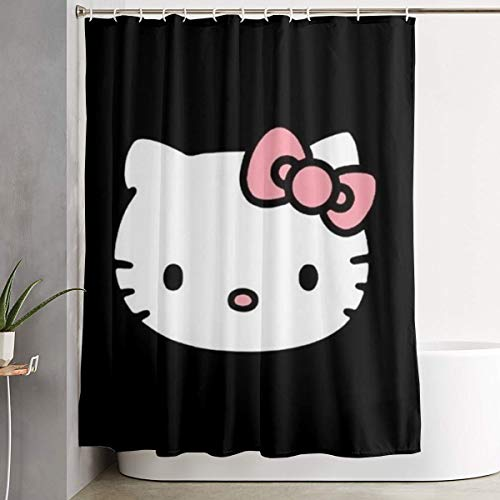 LOV Black Hello Kitty Shower Curtain Decor for Men Women Boys Girls 60x72 in