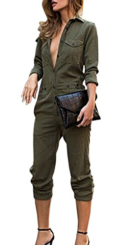 Sexyshine Women's Casual Long Sleeve Button Down Jumpsuit Long Romper Overalls(AG,XL) Army Green