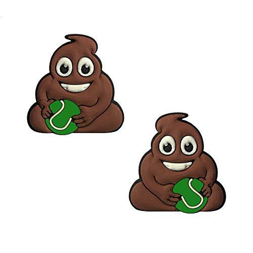 Titokiwi Kothaufen Emoji Tennis Dämpfer 2er Set - Haufen-Emoji mit Tennisball Tennisdämpfer Vibrationsdämpfer (Häufchen-Emoji)