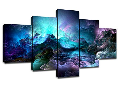 Abstract Purple Clouds Canvas Picture for Living Room Wall Decor Framed Art...