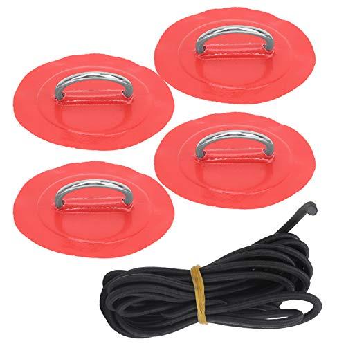 Qirg Almohadilla de Anillo en D para Bote Inflable, núcleo de Goma Suave elástica Almohadilla de Anillo en D para Kayak Resistente para balsa de Bote Inflable de PVC, Bote(Red Patch)