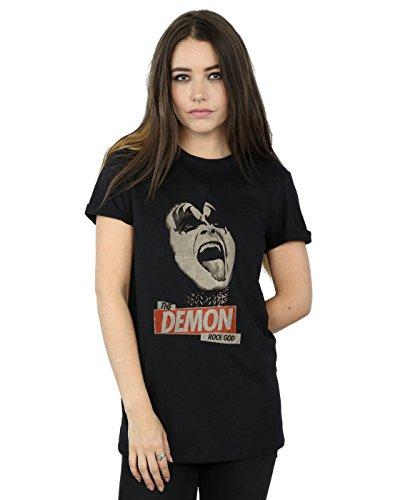Kiss Mujer Rock God Camiseta del Novio Fit Negro XX-Large