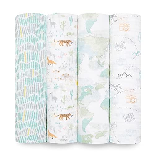 aden + anais Essentials 100% algodón muselina Swaddle & Receiving Manta para bebés y niños, 112 x 112 cm, set de pañales para recién nacidos, regalo de ducha para bebés y niños pequeños, paquete de 4