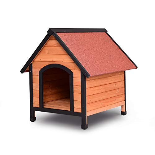 Tangkula Dog House, Wooden Pet Kennel, Outdoor Weather Waterproof Pet House, Natural Wooden Dog House Home with Reddish Brown Roof, Pet Dog House (Small, Red & Natural)