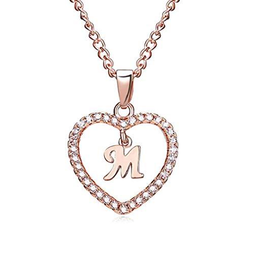 Offerte di liquidazione, Fittingran Collana di Lettera Collana Cuore Strass Collana Cuore Strass Collana Diamanti Collana Personalizzata Cristallo (M)