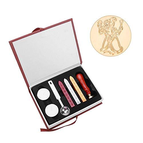 Kit de sello de cera, kit de regalo de sellos de cera, cera de sellado retro creativa con cabeza de color de latón, invitaciones de boda de adorno, tarjeta, envoltura de regalo